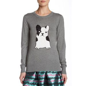 French Connection Bulldog Sequin Sweater in Grey